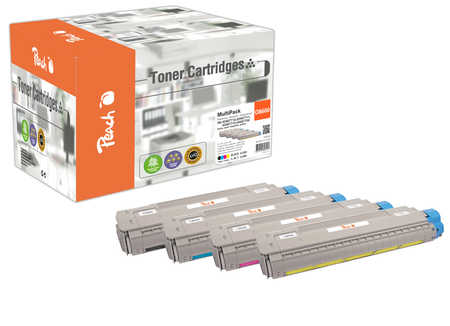 Peach Multipack , compatible avec ID-Fabricant: 43487712,43487711,43487710,43487709 OKI C 8600 N