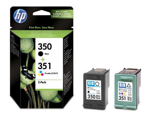 Original Pack combiné des cartouches d'encre originales noire et couleur ID-Fabricant: No. 350, No. 351, SD412EE HP PhotoSmart C 4483