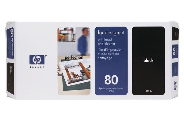 Original Tête d'impression originale noire + nettoyeur HP DesignJet 1050 C Plus