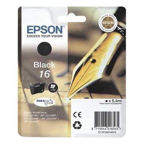 Original Cartouche d'encre noire originale ID-Fabricant: No. 16 bk, T16214 Epson WorkForce WF-2530 WF