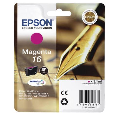 Original Cartouche d'encre magenta originale ID-Fabricant: No. 16 m, T16234 Epson WorkForce WF-2530 WF