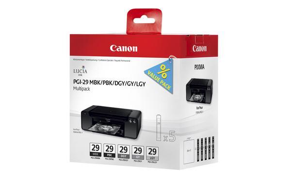 Original Cartouches d'encre Multipack originale MBK/PBK/DGY/GY/LGY Canon Pixma Pro 1