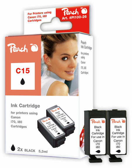 Peach 2cartouches d'encre noire  compatibles avec ID-Fabricant: BCI-15 bk Canon I 70