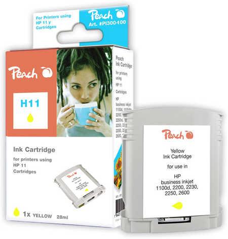 Peach Cartouche d'encre  jaune, compatible avec ID-Fabricant: No. 11 gelb, C4838A HP DesignJet 100 Plus