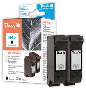 Peach  Twin Pack cartouche d'encre noire, compatible avec ID-Fabricant: No. 45, 51645A HP DesignJet 755 CM