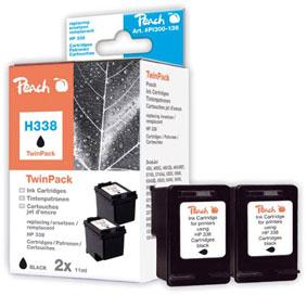 Peach  Twin Pack cartouche d'encre noire, compatible avec ID-Fabricant: No. 338, C8765E HP PhotoSmart C 3150