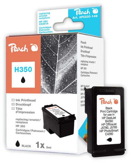 Peach Tête d'impression  noire, compatible avec ID-Fabricant: No. 350, HP CB335EE HP PhotoSmart C 4483