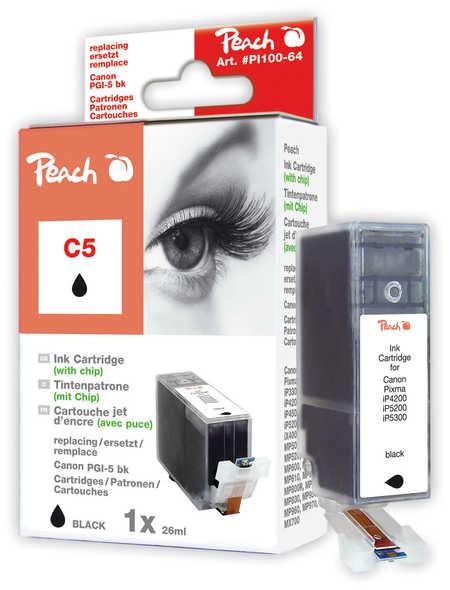 Peach Cartouche d'encre  noir avec puce, compatible avec ID-Fabricant: PGI-5bk, 0628B001 Canon Pixma IX 5000