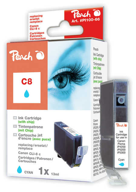 Peach Cartouche d'encre  cyan avec puce, compatible avec ID-Fabricant: CLI-8c, 0621B001 Canon Pixma IX 5000