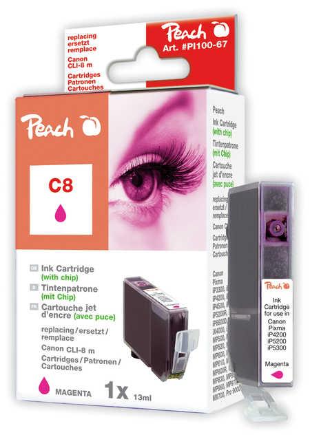 Peach Cartouche d'encre  magenta avec chip, compatible avec ID-Fabricant: CLI-8m, 0622B001 Canon Pixma IX 5000