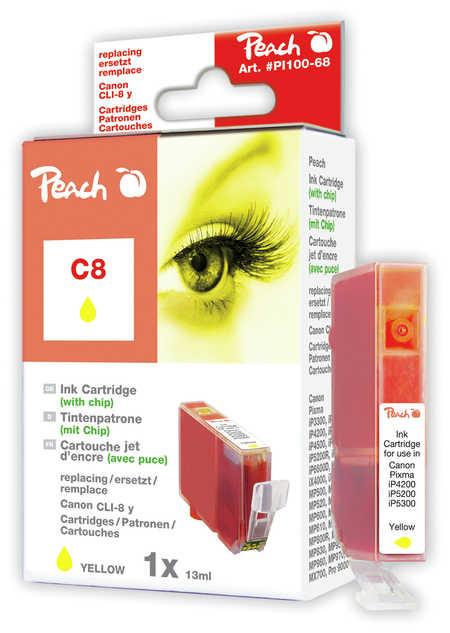 Peach Cartouche d'encre  jaune, avec puce, compatible avec ID-Fabricant: CLI-8y, 0623B001 Canon Pixma IX 5000