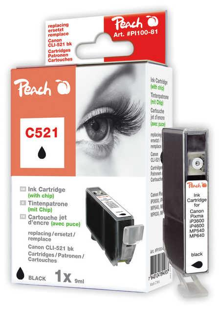 Peach Cartouche d'encre  noir photo, compatible avec ID-Fabricant: CLI-521bk, 2933B001 Canon Pixma MP 620