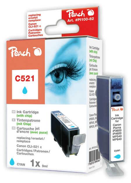 Peach Cartouche d'encre  cyan, compatible avec ID-Fabricant: CLI-521c, 2934B001 Canon Pixma MP 620
