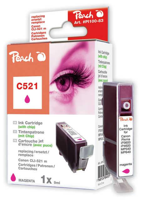 Peach Cartouche d'encre  magenta, compatible avec ID-Fabricant: CLI-521m, 2935B001 Canon Pixma MP 620