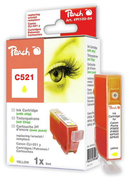 Peach  cartouche d'encre jaune XL avec puce, compatible avec ID-Fabricant: CLI-521y, 2936B001 Canon Pixma MP 620
