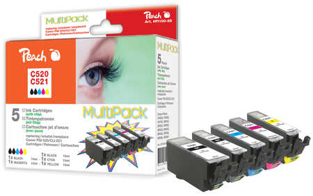 Peach  Multi Pack with chip, XL-Yield, compatible with ID-Fabricant: CLI-521, PGI-520 Canon Pixma MP 620