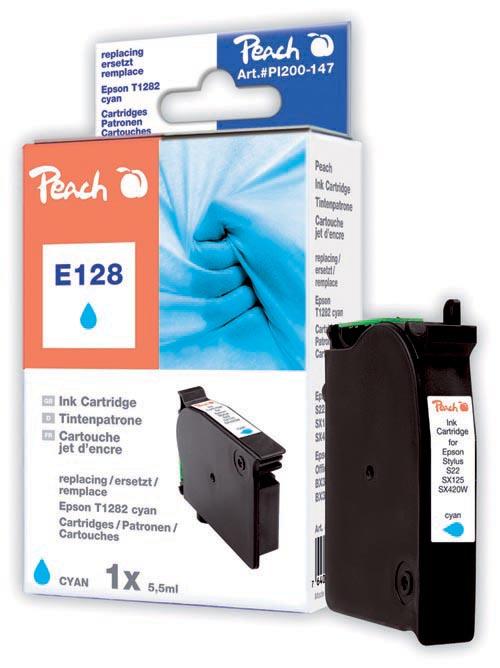 Peach Cartouche d'encre  cyan, compatible avec ID-Fabricant: T128, T1282 Epson Stylus SX 420 W