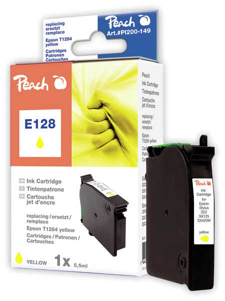 Peach Cartouche d'encre  jaune, compatible avec ID-Fabricant: T128, T1284 Epson Stylus SX 420 W