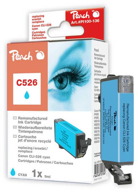 Peach Cartouche d'encre  cyan, compatible avec ID-Fabricant: CLI-526c Canon Pixma MG 5150