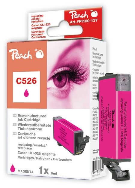 Peach Cartouche d'encre  magenta, compatible avec ID-Fabricant: CLI-526m Canon Pixma MG 5150