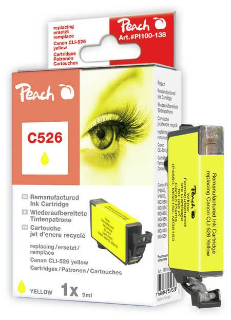 Peach Cartouche d'encre  jaune, compatible avec ID-Fabricant: CLI-526y Canon Pixma MG 5150