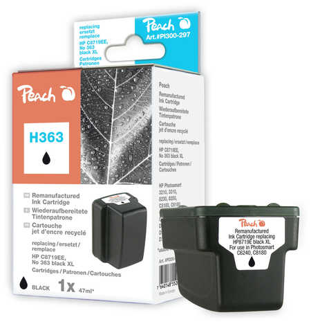 Peach  cartouche d'encre noire HC compatible avec ID-Fabricant: No. 363, C8719EE HP PhotoSmart C 6288