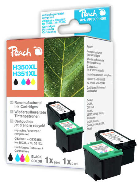 Peach  Multi Pack, compatible avec ID-Fabricant: No. 350XL black, CB336EE, No. 351XL color, CB338EE HP PhotoSmart C 4480