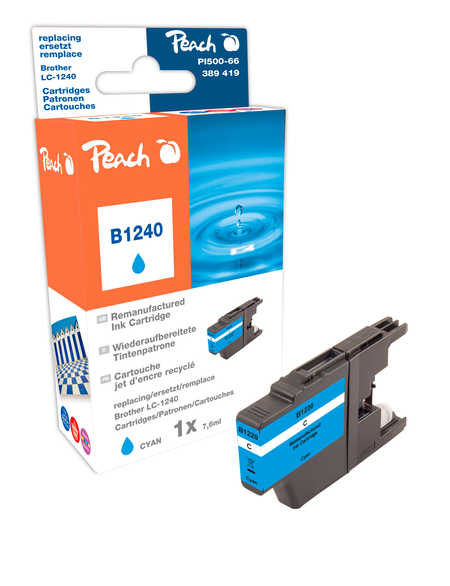 Peach Cartouche d'encre  cyan, compatible avec ID-Fabricant: LC-1240 c Brother MFCJ 6510 DW