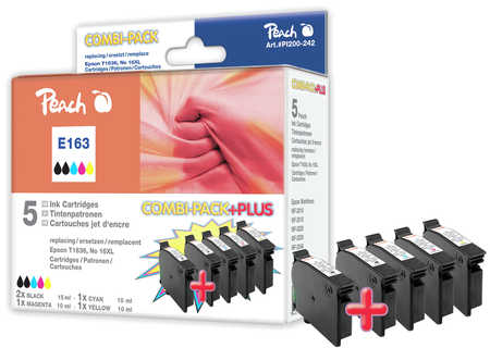 Peach Multipack Plus  compatible avec ID-Fabricant: No. 16XL, T1636 Epson WorkForce WF-2530 WF