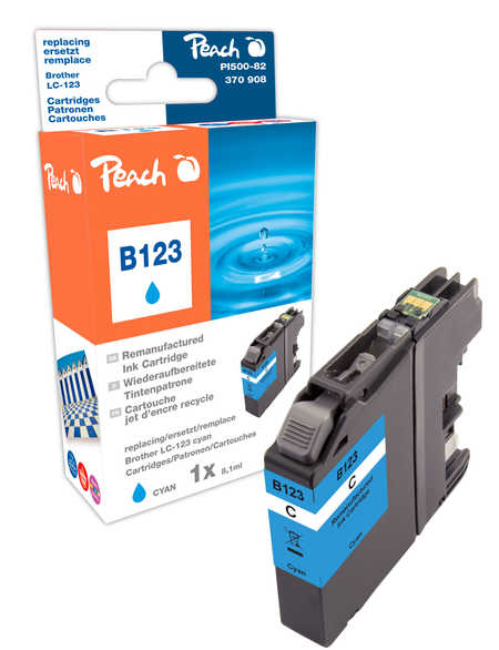 Peach Cartouche d'encre  cyan, compatible avec ID-Fabricant: LC-123 Brother MFCJ 4310 DW
