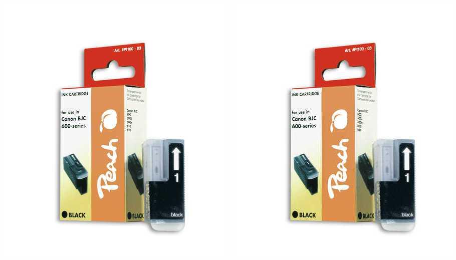 Peach  Twin Pack cartouche d'encre noire, compatible avec ID-Fabricant: BJI-201 bk Apple Color Stylewriter PRO