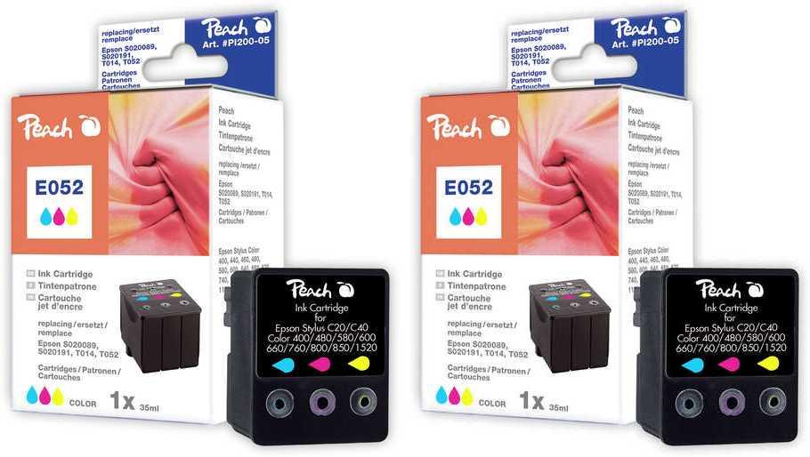 Peach  Twin Pack cartouche d'encre coleur, compatible ID-Fabricant: T014, , T052, S020089, S020191 Epson Machjet 6000 C