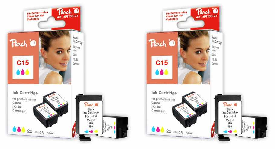 Peach  Twin Pack 2 cartouches coleur, compatible avec ID-Fabricant: BCI-15 c Canon I 70