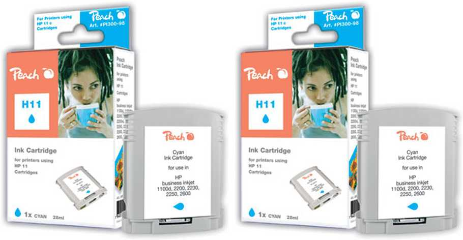 Peach  Twin Pack cartouche d'encre cyan, compatible avec ID-Fabricant: No. 11 cyan, C4836A HP Business InkJet 1000