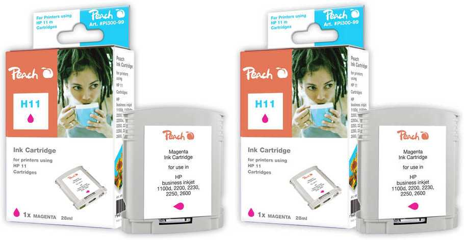 Peach  Twin Pack cartouche d'encre magenta, compatible avec ID-Fabricant: No. 11 magenta, C4837A HP Business InkJet 1000