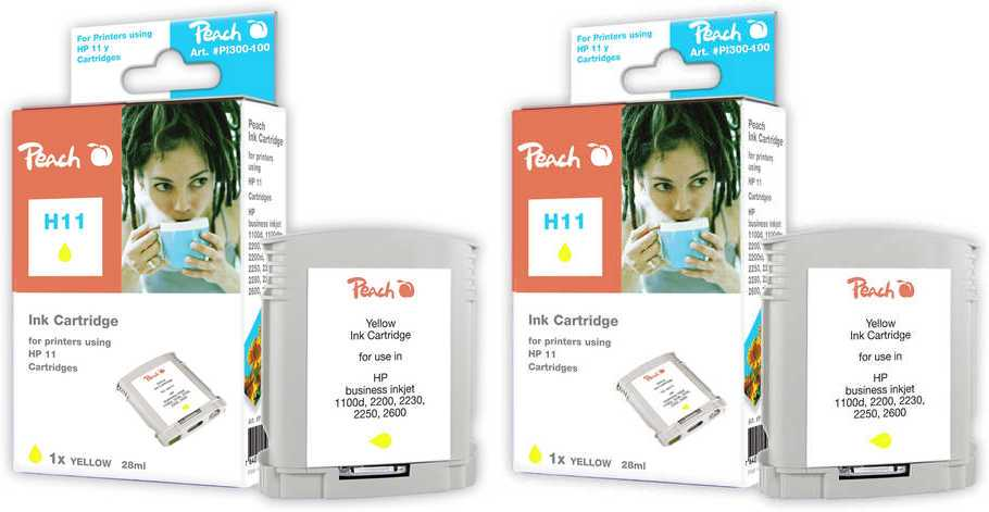 Peach  Twin cartouche d'encre jaune, compatible avec ID-Fabricant: No. 11 gelb, C4838A HP Business InkJet 1000