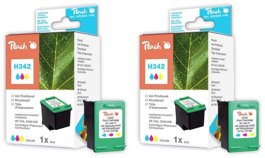 Peach  Double Pack tête d'impression couleur, compatible avec ID-Fabricant: No. 342, C9361E HP PhotoSmart C 3150