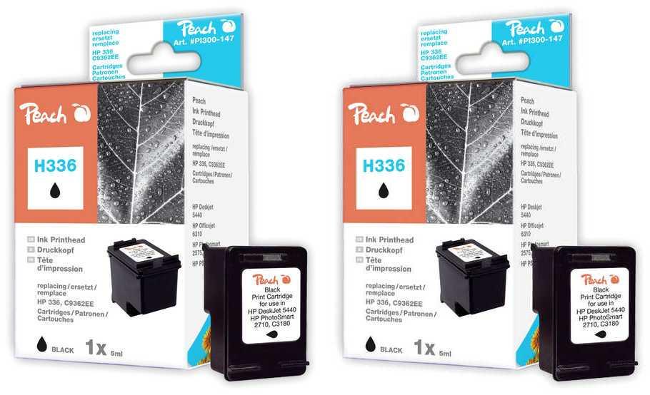 Peach  Double Pack tête d'impression noir, compatible avec ID-Fabricant: No. 336, C9362E HP PhotoSmart C 3150