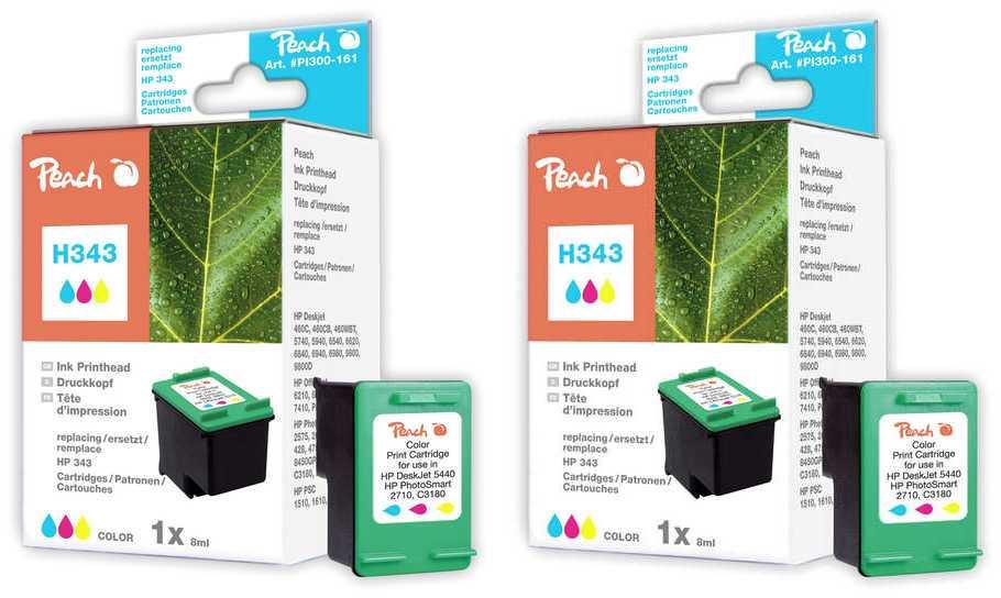 Peach  Double Pack tête d'impression couleur, compatible avec ID-Fabricant: No. 343, C8766EE HP DeskJet 5740