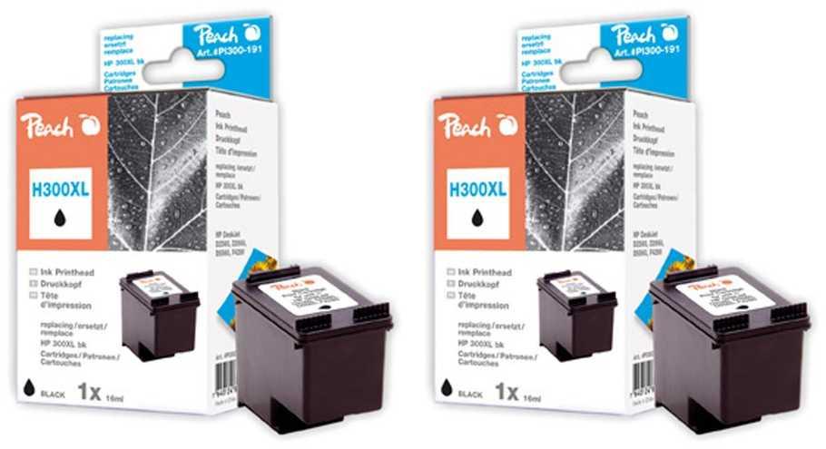 Peach  Double Pack tête d'impression noir, compatible avec ID-Fabricant: No. 300XL, CC641EE HP PhotoSmart C 4788