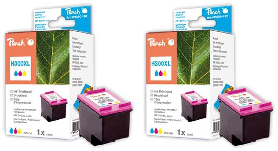Peach  Double Pack tête d'impression couleur, compatible ID-Fabricant: No. 300XL, CC644EE HP PhotoSmart C 4788