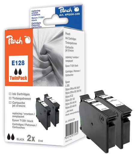 Peach  Twin Pack cartouche d'encre noire, compatible avec ID-Fabricant: T128, T1281 Epson Stylus SX 420 W