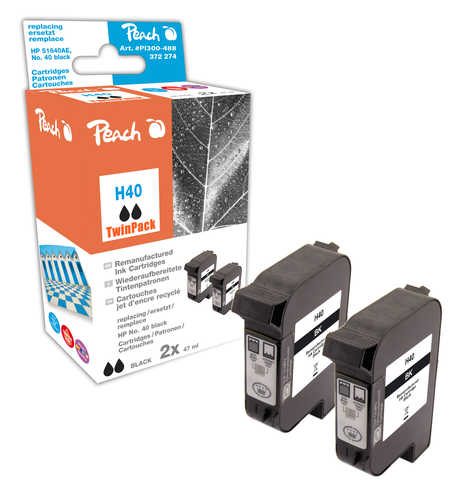 Peach  Double Pack tête d'impression noir, compatible avec ID-Fabricant: No. 40, 51640AE HP DesignJet 430 36 Inch