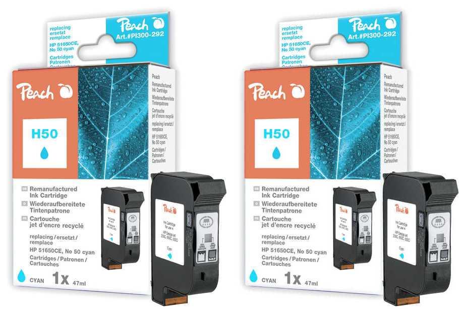 Peach  Double Pack tête d'impression cyan, compatible avec ID-Fabricant: No. 50, 51650CE HP DesignJet 650 C