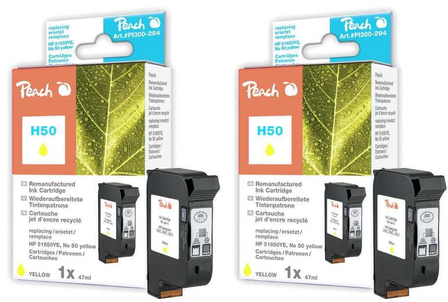 Peach  Double Pack tête d'impression jaune, compatible avec ID-Fabricant: No. 50, 51650YE HP DesignJet 650 C