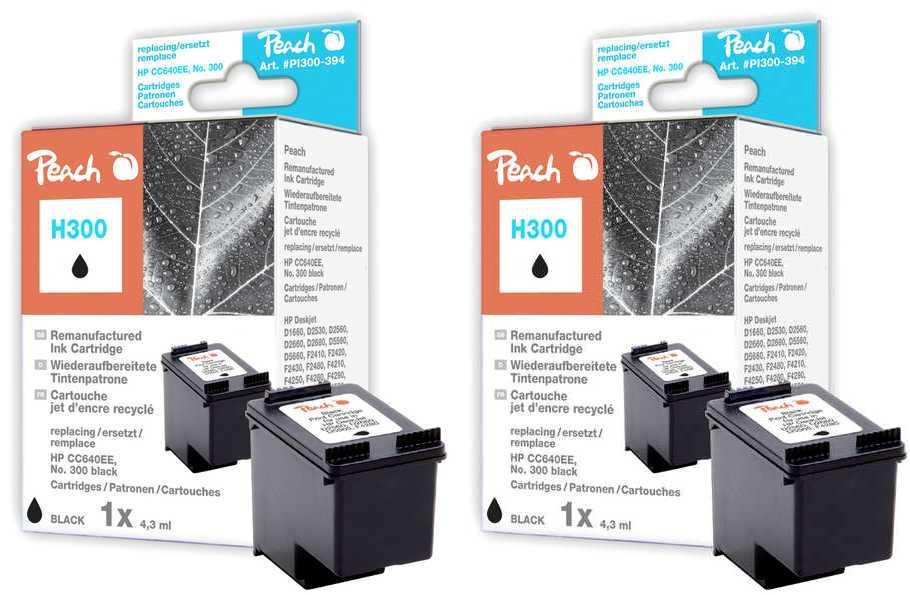 Peach  Double Pack tête d'impression noir, compatible avec ID-Fabricant: No. 300, CC640EE HP PhotoSmart C 4788