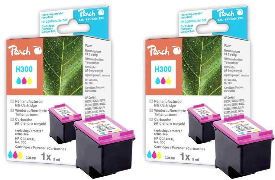 Peach  Double Pack tête d'impression couleur, compatible avec ID-Fabricant: No. 300, CC643EE HP PhotoSmart C 4788