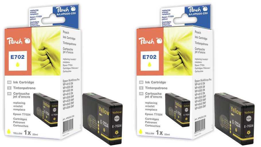 Peach  Twin cartouche d'encre jaune, compatible avec Epson WorkForce Pro WP-4520