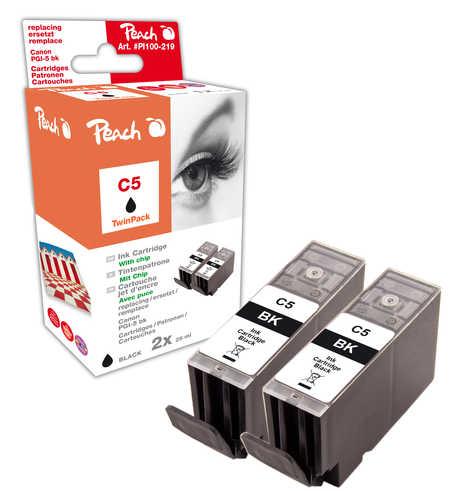 Peach  Twin Pack cartouche d'encre noire avec chip, compatible avec ID-Fabricant: PGI-5bk, 0628B001 Canon Pixma IX 5000